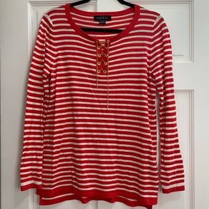 Red and White Striped Long Sleeve